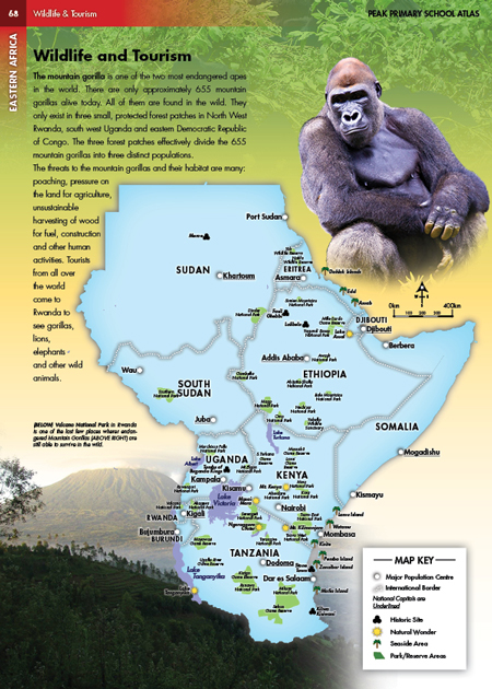 East Africa Wildlife and Tourism Photo Illustrated Map