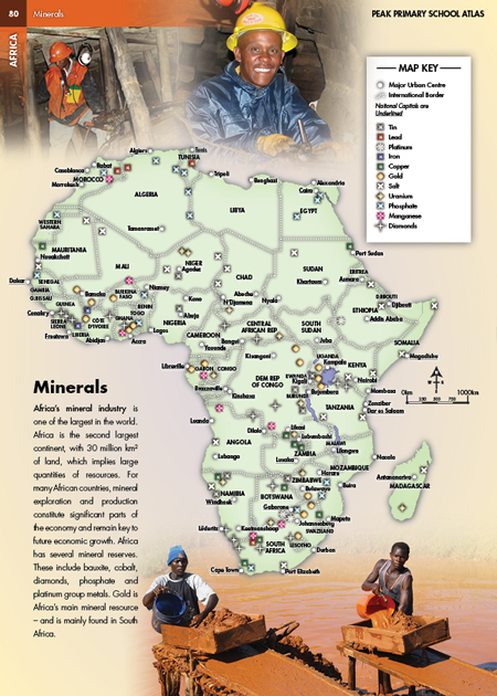 Africa Minerals Photo Illustrated Map