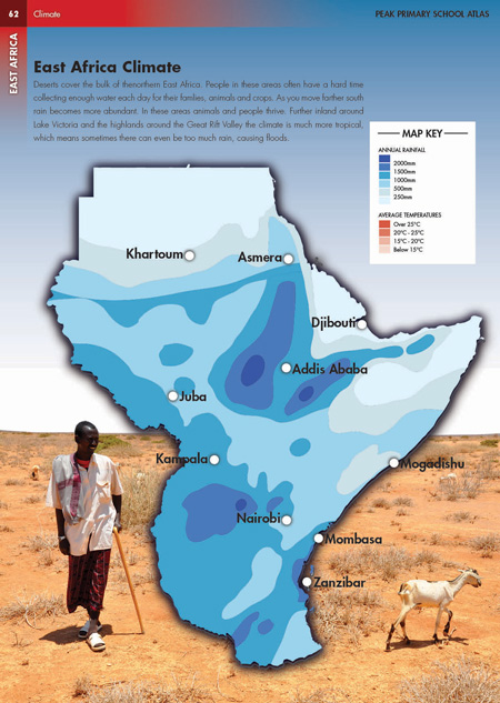 East Africa Climate Photo Illustrated Map