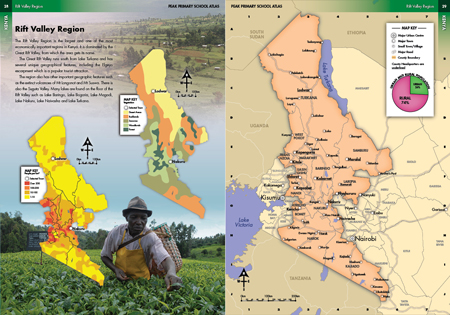 Rift Valley Region Thematic Photo Illustrated Map